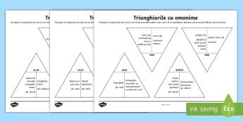 Asamblează triunghiurile Jocul omonimelor - idei, omonime, limba română, cuvinte, sens, omonim, acelasi sens, forma diferita, piese, puzzle, a