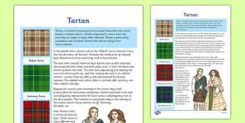 Tartan Fact Sheet - tartan, fact sheet, cfe, curriculum for excellence, scottish tartan, scottish
