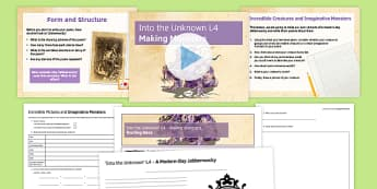 Into the Unknown Pre-1914 Literature Lesson Pack 4: Making Monsters - Jabberwocky, Lewis Carroll, Alice's Adventures In Wonderland, Through The Looking-Glass, Nonsense Word, Portmanteau Word, Creative Writing, Poetry, Structure and Form