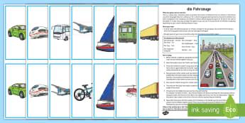Transport Whole Class Interactive Game German - Travel, Transport, Vehicles, Game, MFL, German, Languages, Spiel, Fahrzeuge, Verkehrsmittel