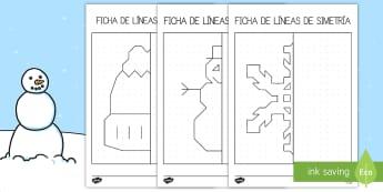 Ficha: Líneas de simetría - Invierno - líneas de simetría, simetría, simetria, ficha de actividad, invierno, invernal, dibujar, colorear