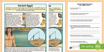 Survival in Ancient Egypt Differentiated Comprehension Activity Italian Translation - Survival in Ancient Egypt Differentiated Reading Comprehension Activity - history, english, reading,