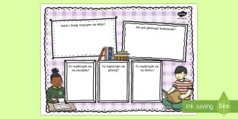 Szablon Recenzja książki - lektura, lektury, biblioteka, czytanie, czytać, polski, język, kanon