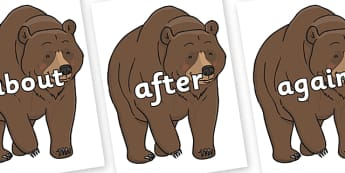 KS1 Keywords on Bear - KS1, CLL, Communication language and literacy, Display, Key words, high frequency words, foundation stage literacy, DfES Letters and Sounds, Letters and Sounds, spelling