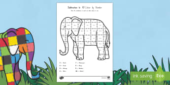 Subtraction from 10 Colour by Numbers Sheet Māori to Support Teaching on Elmer - elephant, patchwork, subtract, take away, minus, counting, nz, new zealand, maths, colouring, numbers, ten