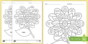2 3 Year Olds 'I Can' Assessment Flower English/Romanian - EYFS Assessment Resources, flower, petal, trackers, tracking, psed, independence, COEL, characterist
