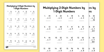 Multiplying 2-Digit Numbers by 1-Digit Numbers Activity Sheet - multiply, times, maths, 2 digit, 1 digit, worksheet