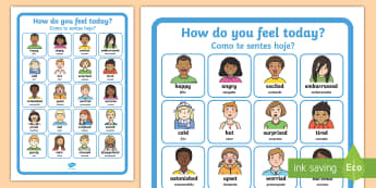 How Do You Feel Today? Emotions Chart English/Portuguese - How Do You Feel Today Emotions Chart - Emotions, Today, Chart, emtions, pictures of people frieghten