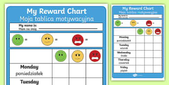 Editable Reward Chart English/Polish - Editable Reward Chart - Reward Chart, School reward, Behaviour chart, SEN chart, Daily routine chart