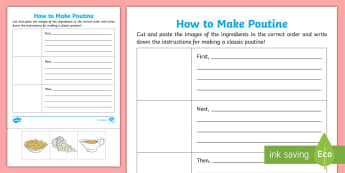 How to Make Poutine Activity Sheet - Canada\'s 150th Birthday, canada, canadian food, canadian, cuisine, poutine, cooking, worksheet