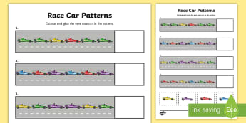Race Car Patterns Activity Sheet - Australian Sporting Events Maths, patterns and algebra, worksheet, continue the pattern, cars, colou