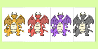 Dragon Cut Outs - dragon, cut outs, cut, outs, fantasy, myth, legend, activity