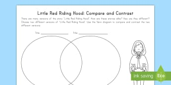 Little Red Riding Hood: Compare and Contrast Activity Sheet - Big Bad Wolf, Common Core, ELA, Venn Diagram, Compare, Contrast, worksheet