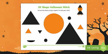 Witch 2D Shape Cutting Skills Activity