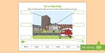 Taflenni Gwaith Gwahaniaethol Labelu Tai a Chartrefi - labelu, tai, cartrefi, gwahaniaethu, ,Welsh