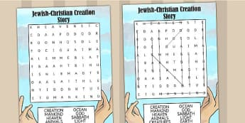 Jewish Christian Creation Story Wordsearch - judaism, christian