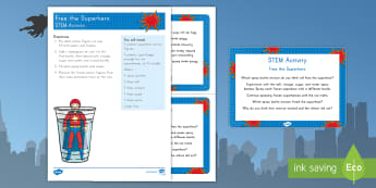 Free the Superhero STEM Activity and Prompt Card Pack - superheroes, comics, comic book, STEM Activity, superhero sTEM activity, Pre-K Science, Kindergarten