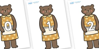 Numbers 0-31 on Mummy Bear - 0-31, foundation stage numeracy, Number recognition, Number flashcards, counting, number frieze, Display numbers, number posters