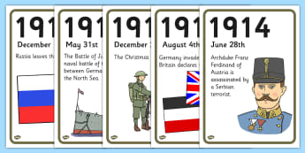 World War One A4 Display Timeline - world war one, a4, display
