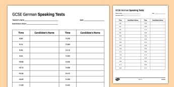 GCSE German Speaking Test Timetable Template - GCSE, Speaking Exam, Test, Timetable, Template, Schedule, Admin