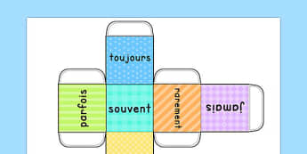 Adverbs of Frequency Dice Net French - french, adverb, verbs, visual aids, literacy