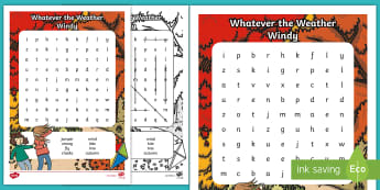 Whatever the Weather Windy Word Search - exploring my world, sun, rain, wind, snow, seasons, literacy, oral langage, reading, writing, clothe