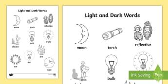 Light and Dark Words Colouring Sheet - light, dark, colour, sheet