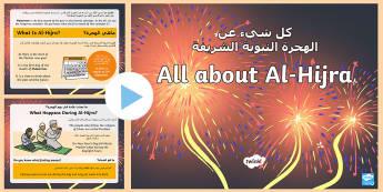 EYFS All about Al Hijra Information PowerPoint Arabic/English - Muslim, Muhammad,New Year, Prophet, Muharram EAL Arabic,Arabic-translation