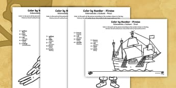 Pirates Colour by Number English/Polish - Pirates Colour by Number - pirates, colour, number, activity, coloyur by number, pirtaes, prirate,Po