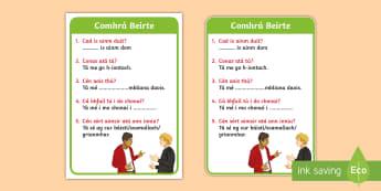 ROI Irish Language Conversation Cards Flashcards - ROI - Irish Language Week Gaeilge Resources - 1st-17th March,Irish