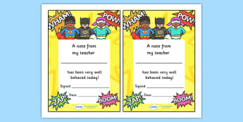 Note From Teacher Well Behaved Today (Superhero Themed) - note from teacher well behaved today, well behaved today, note from teacher, notes, praise, comment, note, teacher, teacher's, parents, well behaved, today, superhero themed, superhero, superh