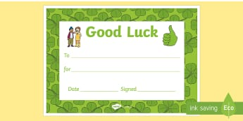 Good Luck Certificate - goodbye, end of year, transition, leaving, leavers,