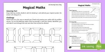 Magical Maths Activity Sheet - maths tricks, maths magic, number tricks, mystery maths tricks, number tricks, worksheet