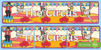 Circus Display Banner - circus, clown, juggler, acrobats, display, banner, poster, sign, big top, magician, monkey, ring master, trapeze, horse, elephant, lion tamer, stilts, sea lion
