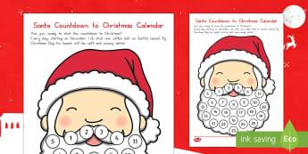 Santa Countdown to Christmas Calendar Craft