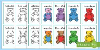 Juego: Descríbelo, coloréalo - Osos de peluche - describir, colorea, oso de peluche, osos de peluche, osos, oso, colores, color, descríbelo, coloré
