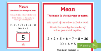 Mean Poster - mean, mean definition, mean display poster, numeracy mean poster, ks2 numeracy poster, mean mode median and range, definition of mean