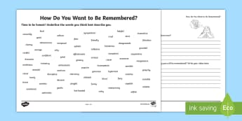How Do You Want To Be Remembered? Activity Sheet - vocab, adjectives, self image, future, goals, Reflection