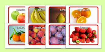 Fruit Flashcards Spanish-Spanish