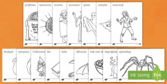 Halloween Inkleur bladsye  - Oktober, vier, bang, potlode, kryte, fynmotories, pampoen
