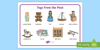 Toys from the Past Word Mat - Toys, word mat, writing aid, Jack in the box, diabolo, jacks, pop gun, skittles, spinning top, marbles, pogo, doll