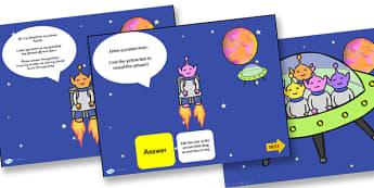 Alien Themed Adaptable Starter And Plenary PowerPoint - alien, starter, plenary, powerpoint, starter powerpoint, plenary powerpoint, themed powerpoint