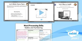Computing: Microsoft Word Skills: Bullets and Numbering Year 3 Lesson Pack 4