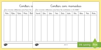 Ficha de actividad: Contar con monedas - dinero, monedas, euros, céntimos, contar, mates, matemáticas, sumas, sumar, añadir, adición, cue