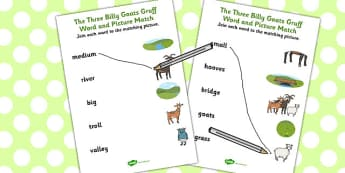 The Three Billy Goats Gruff Word and Picture Match - match, goats