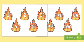 Numbers 0 to 100 on Flames Cut-Outs - EYFS, Early Years, People Who Help Us, firefighters, number cards, numbers, counting, maths.,numberc