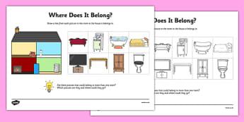 Aistear Homes Where Does It Belong Activity Sheet - Aistear, homes, rooms, furniture, items, matching, worksheet