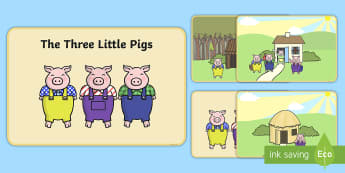 The 3 Little Pigs Story Sequencing - 3 little pigs, sequencing, traditional tales, tale, fairy tale, pigs, wolf, straw house, wood house, brick house, huff and puff, chinny chin chin