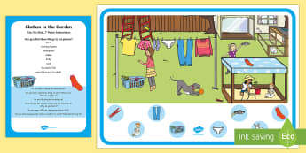 Clothes in the Garden Can You Find...? Poster and Prompt Card Pack - oracy, oral, new language curriculum, clothing, socks, washing line, wear, jeans