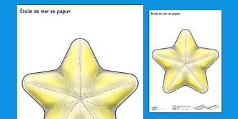 Étoile de mer en papier French - french, under the sea, simple, 2d, starfish